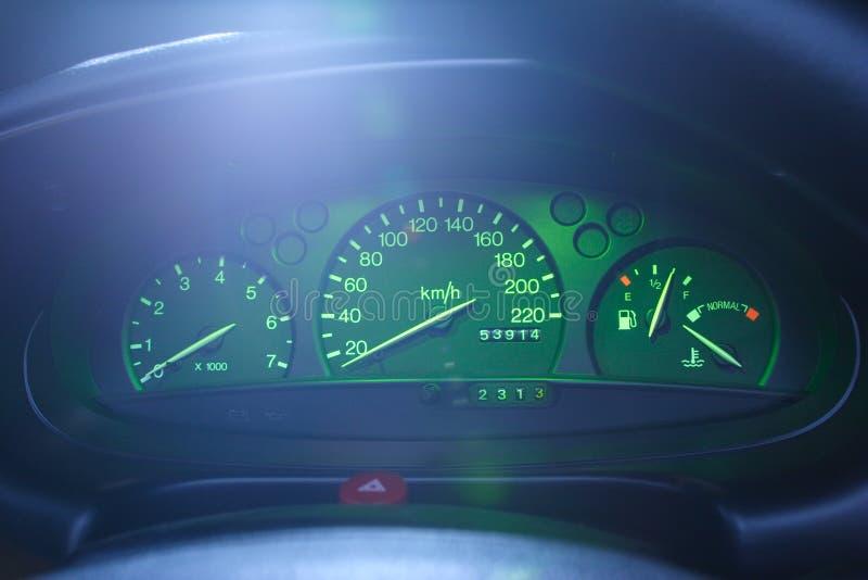 汽车控制板晚上 库存图片