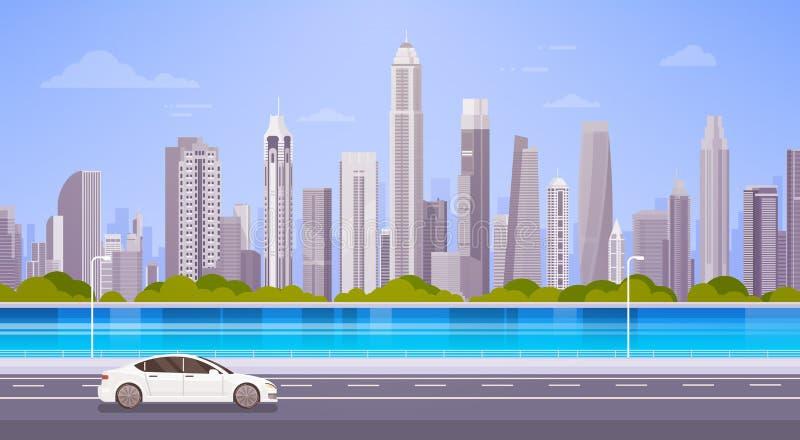 汽车推进在城市摩天大楼视图都市风景背景地平线全景的街道路 向量例证