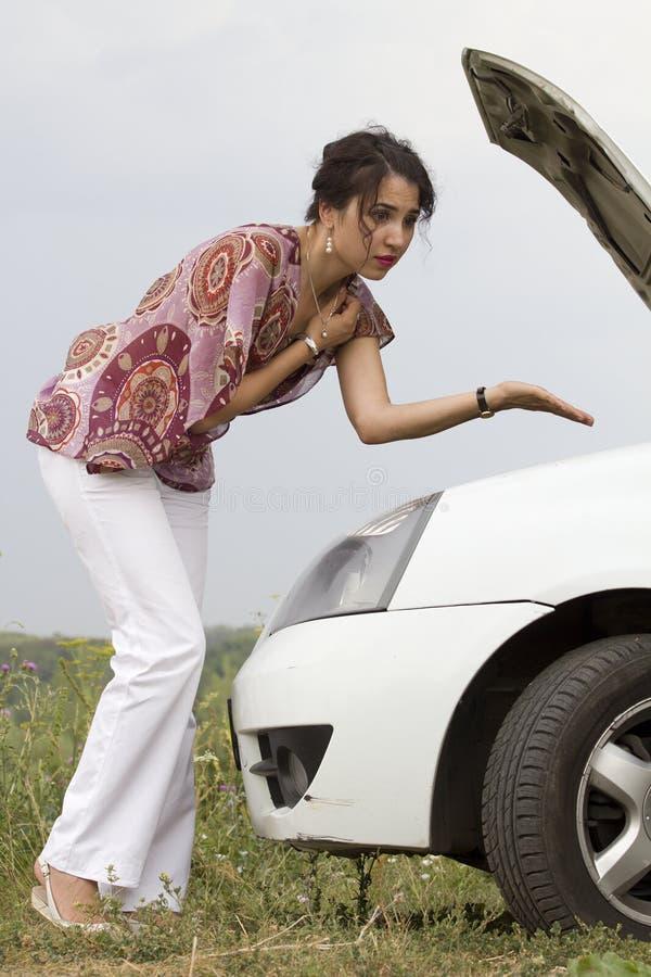 汽车故障情感故障妇女 库存图片