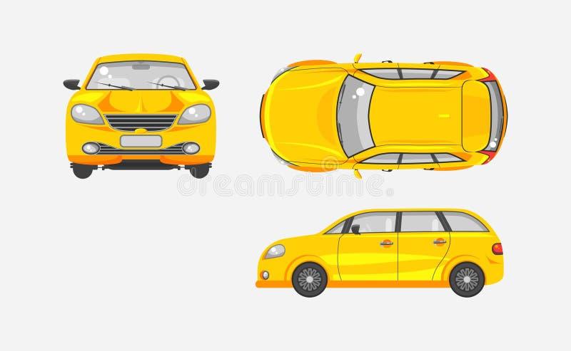汽车斜背式的汽车上面,前面,侧视图 皇族释放例证