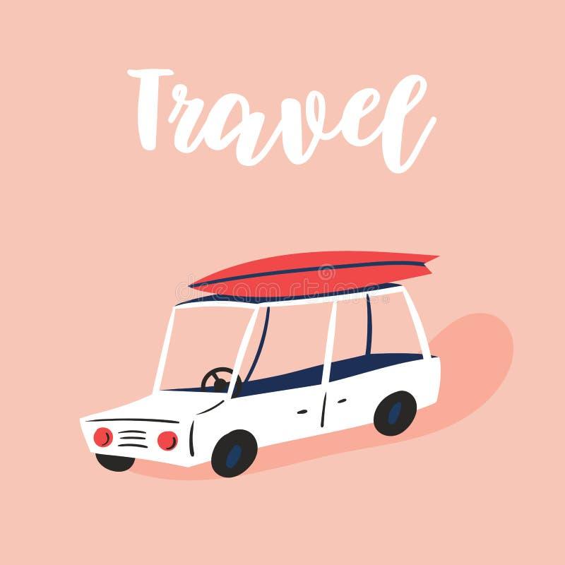 汽车旅行假期概念 夏天休闲 皇族释放例证