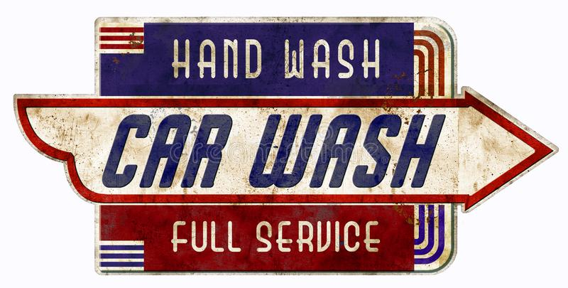 汽车是标志减速火箭的葡萄酒车库服务周到手洗涤 库存例证