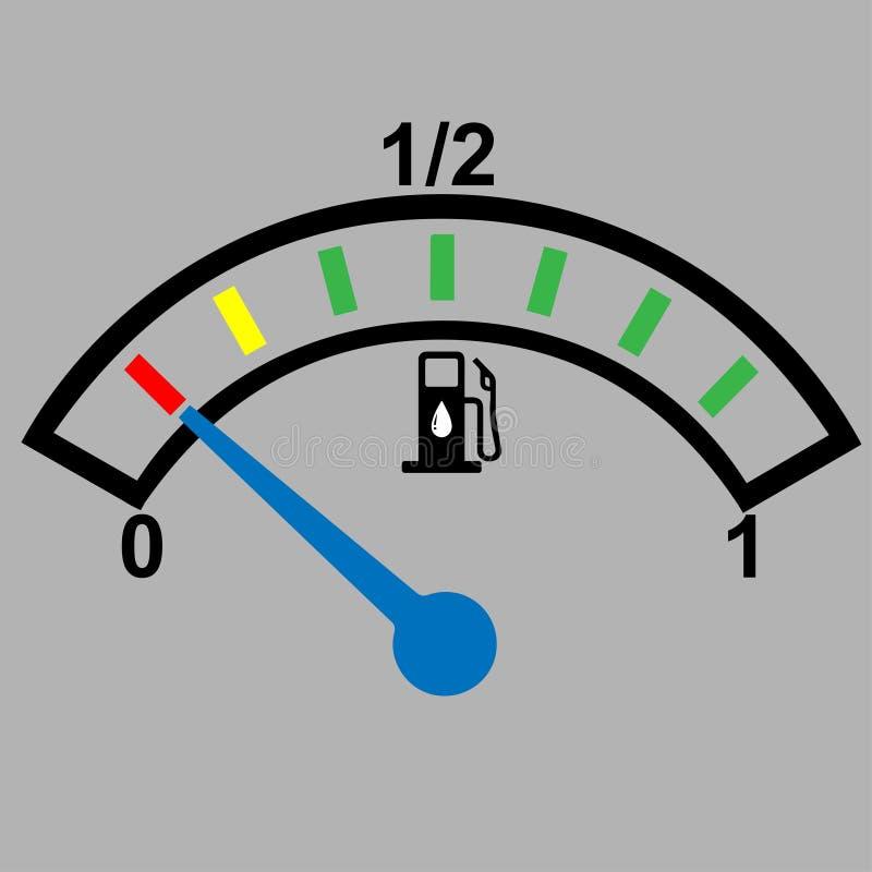 汽车显示燃料级别的仪表板测量仪 库存例证