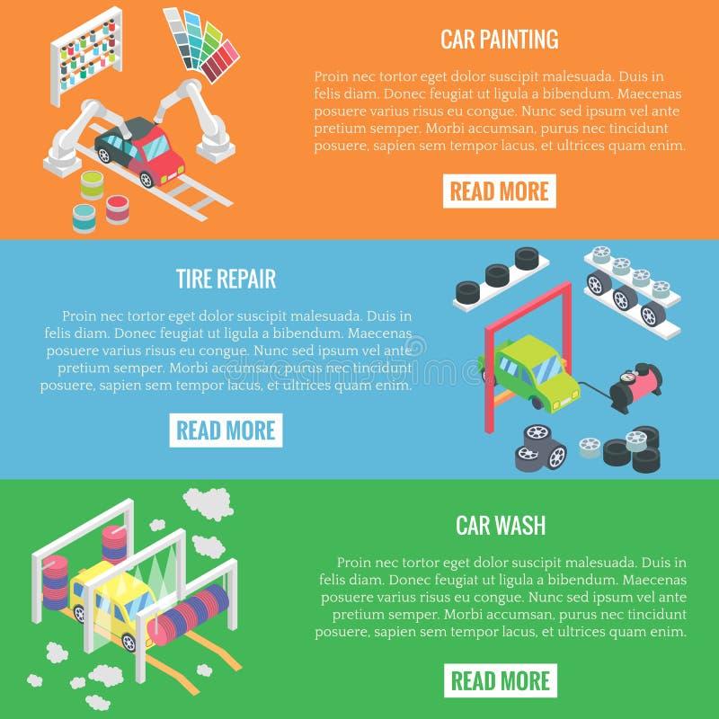 汽车服务中心等量水平的横幅 传染媒介平的3d设计元素 自动绘画,碰撞修理,汽车 向量例证