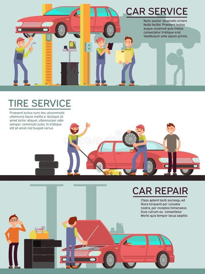 汽车服务和自动garag导航与动画片技工工作者的营销横幅 皇族释放例证