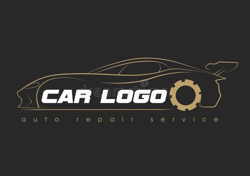 汽车服务商标模板设计象或标签 汽车汽车repairservice和恢复模板 与汽车的商标 皇族释放例证