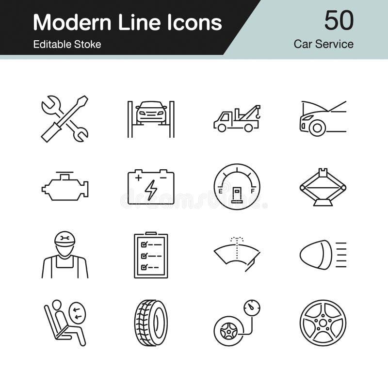 汽车服务图标 现代线设计设置了50 对介绍, 皇族释放例证