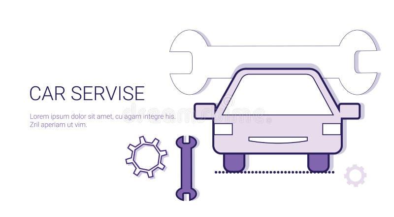 汽车服务技工修理概念模板与拷贝空间的网横幅 库存例证