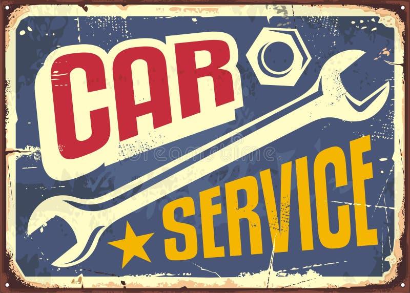 汽车服务葡萄酒标志 向量例证