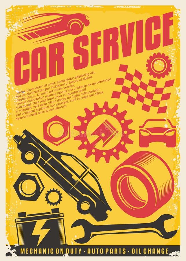 汽车服务葡萄酒海报设计 皇族释放例证