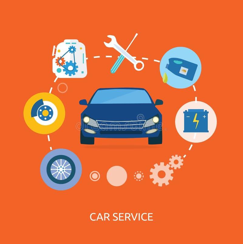 汽车机械师维护提供清洁服务或膳食的公寓象  向量例证