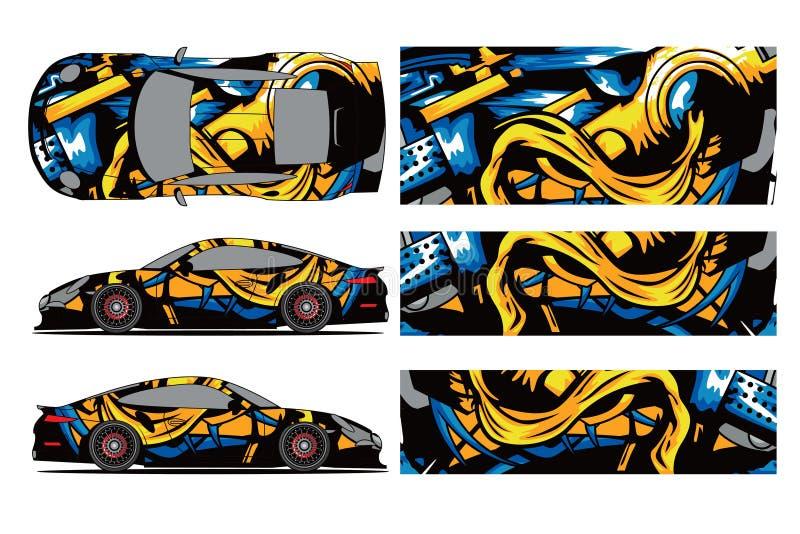 汽车标签套设计传染媒介 图表抽象套车的,赛车,集会条纹赛跑的背景成套工具设计, 皇族释放例证