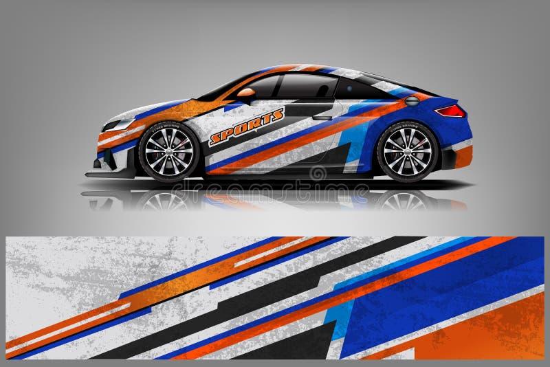 汽车标签套设计传染媒介 图表抽象车、赛车、集会、冒险和锂的条纹赛跑的背景成套工具设计 皇族释放例证