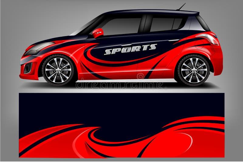 汽车标签套设计 图表抽象车、赛车、集会、冒险和锂的条纹赛跑的背景成套工具设计 向量例证