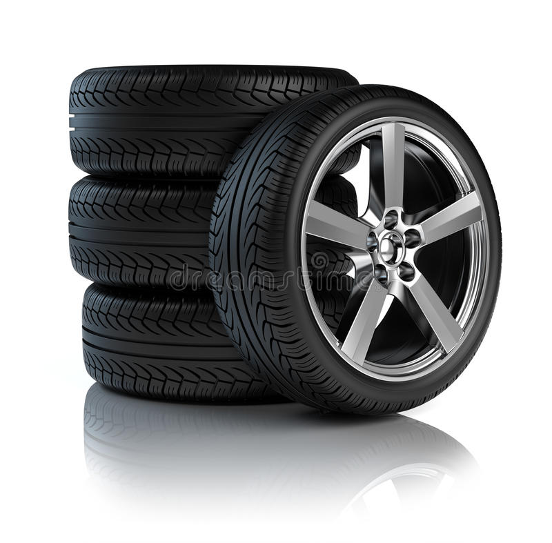 汽车栈轮子 向量例证