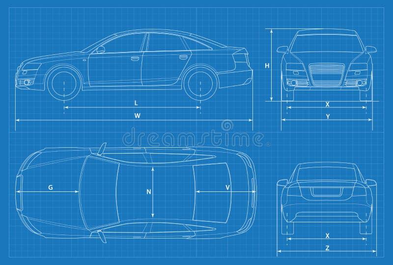 汽车概要或汽车图纸 也corel凹道例证向量 在概述的轿车汽车 企业轿车车模板传染媒介 视图 库存例证
