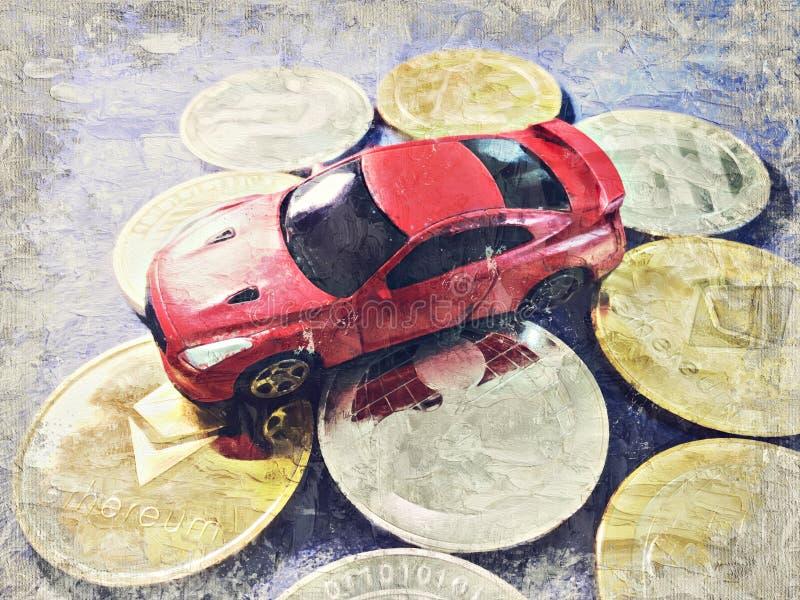 汽车模型在蓝色布料的隐藏硬币放置 数字式艺术Impasto 库存照片