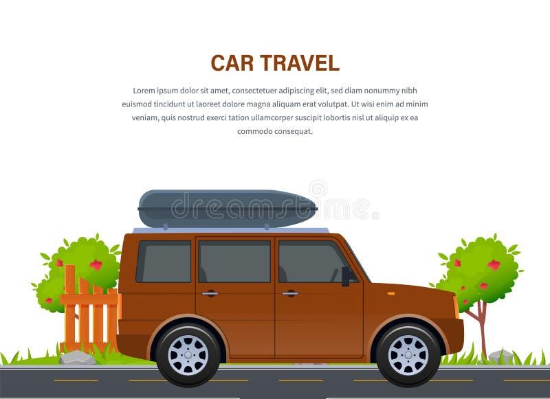 汽车欧洲映射玩具旅行 在吉普汽车的旅行在乡下公路 皇族释放例证