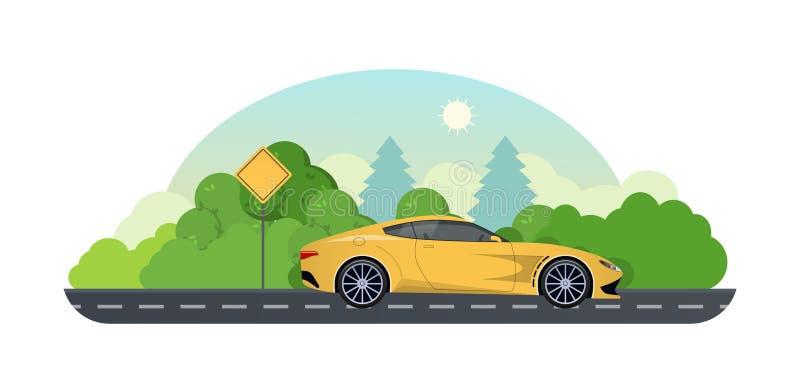 汽车欧洲映射玩具旅行 在跑车的旅行在乡下公路 向量例证