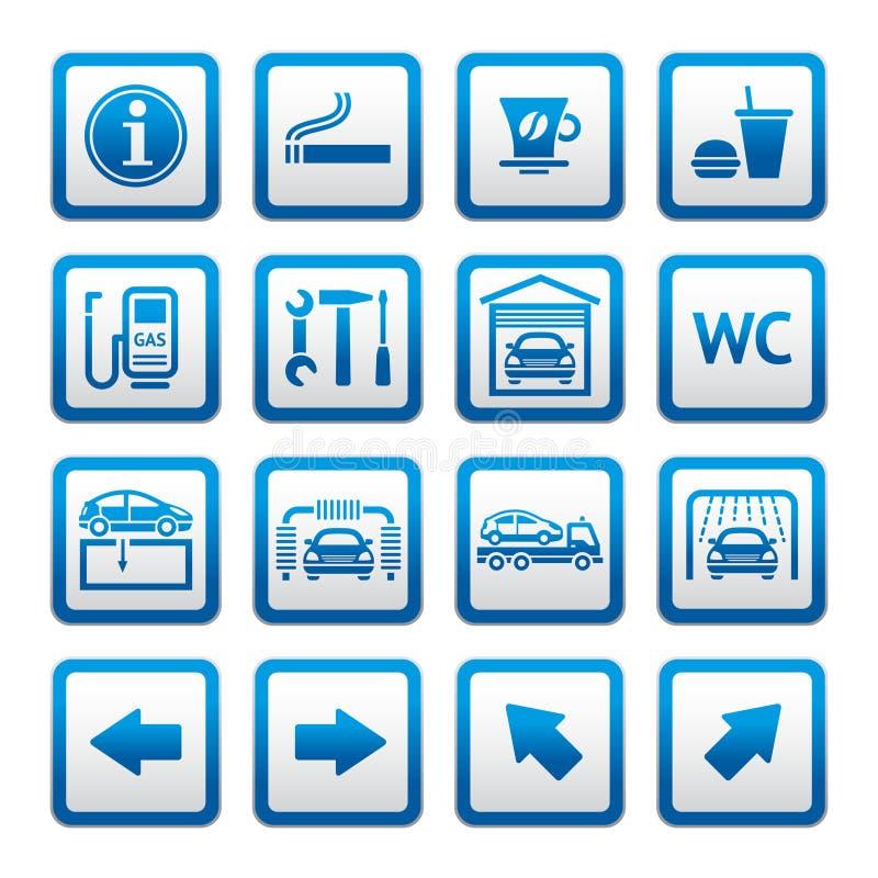 汽车气体图表服务被设置的岗位符号 向量例证