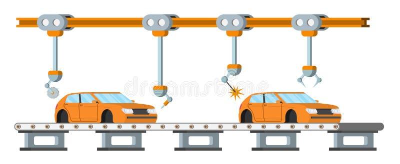 汽车汇编传动机线 机器人汽车机械产业概念 皇族释放例证