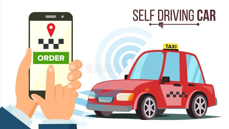 汽车汽车传染媒介 现代无人驾驶的汽车 驾驶在路和感觉系统 未来概念 ACC能适应的巡航 皇族释放例证