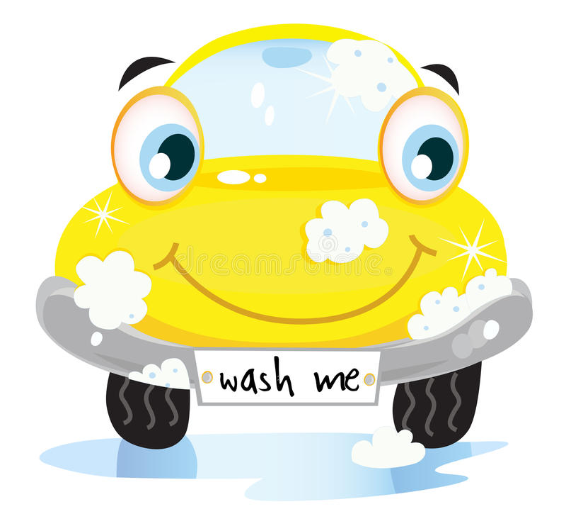汽车汽车愉快的服务洗涤黄色 向量例证