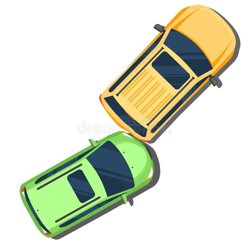 汽车汽车极大冲突的失败有高速公路被冰的速度 在汽车顶视图背后的事故 平的样式 向量例证