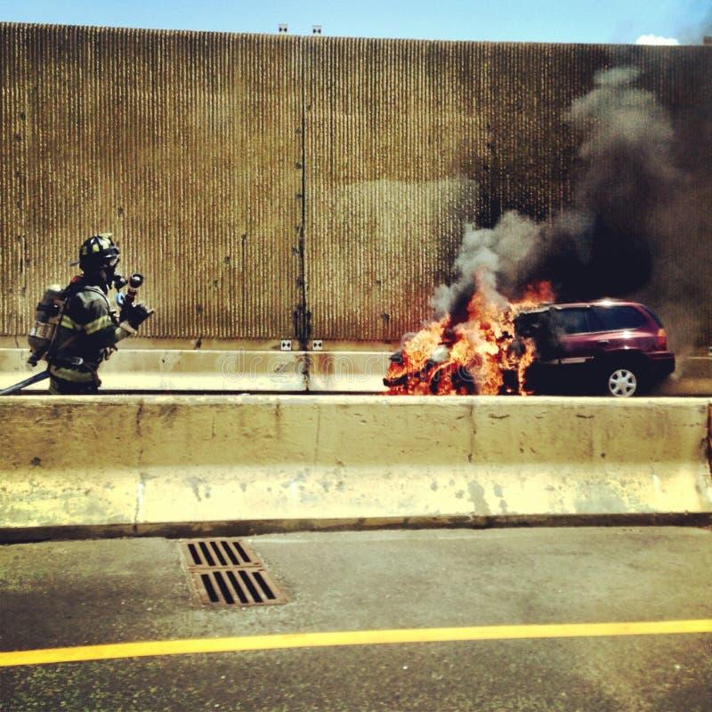 汽车汽车极大冲突的失败有高速公路被冰的速度 图库摄影