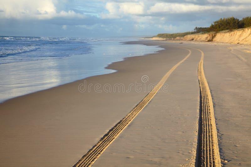 汽车沙子跟踪 库存图片