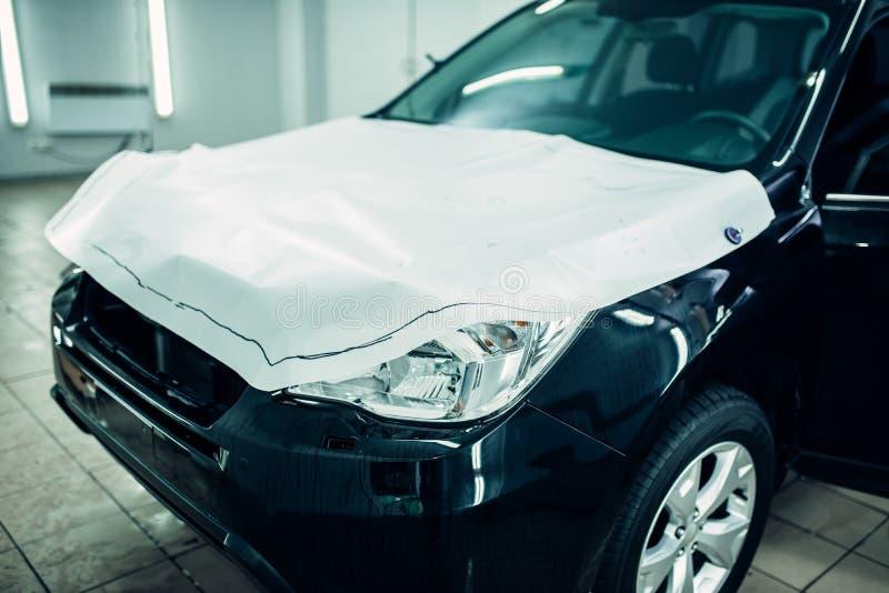 汽车油漆保护影片,敞篷保护 免版税库存照片