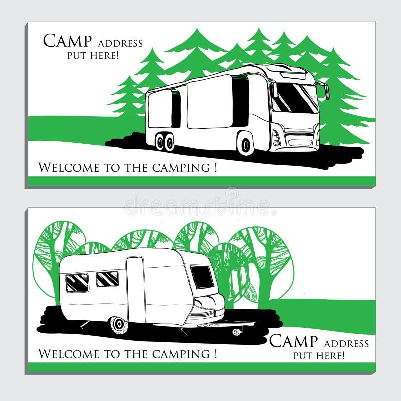 汽车游乐车露营者货车有蓬卡车的例证 皇族释放例证
