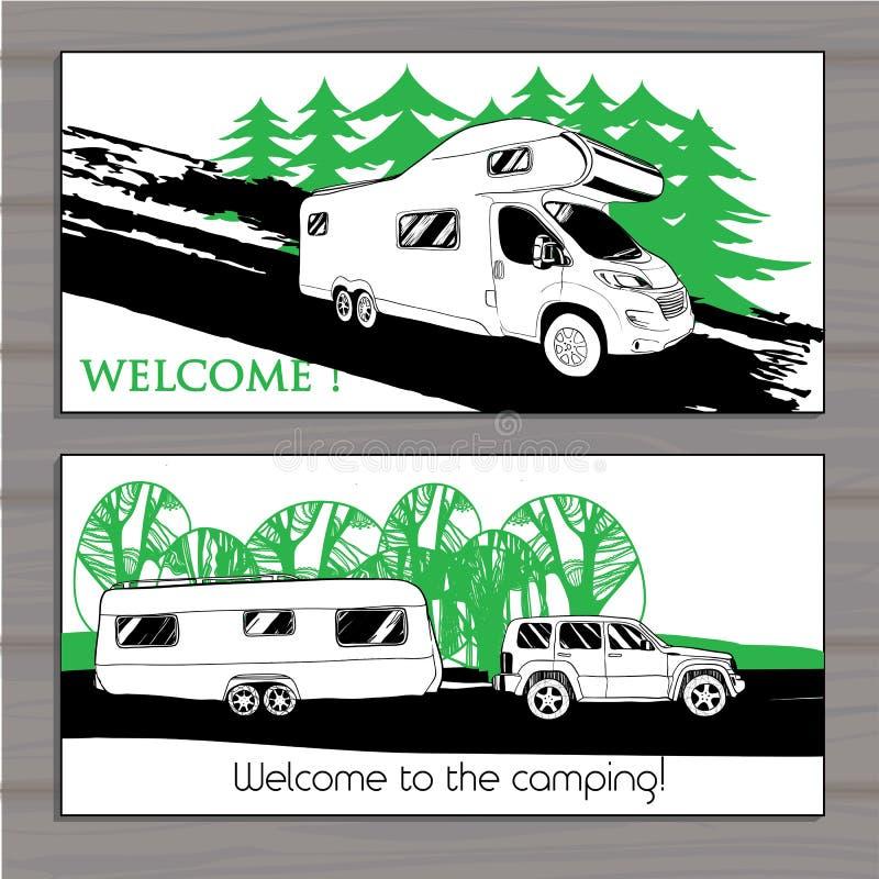 汽车游乐车露营者货车有蓬卡车的例证 向量例证