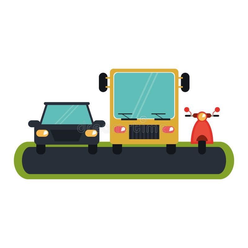 汽车滑行车和公共汽车在街道上 向量例证