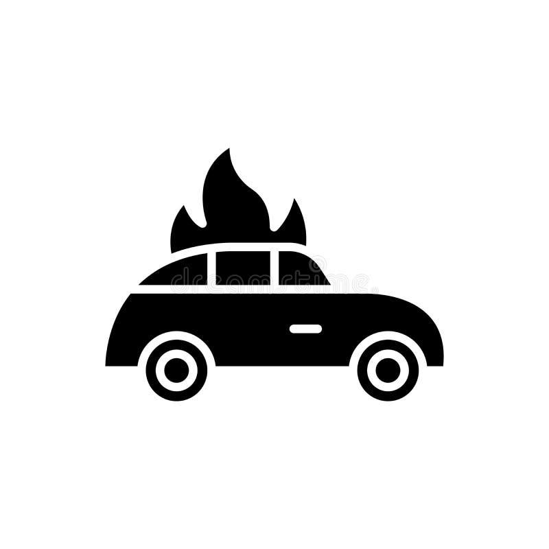 汽车火黑色象概念 汽车火平的传染媒介标志,标志,例证 皇族释放例证