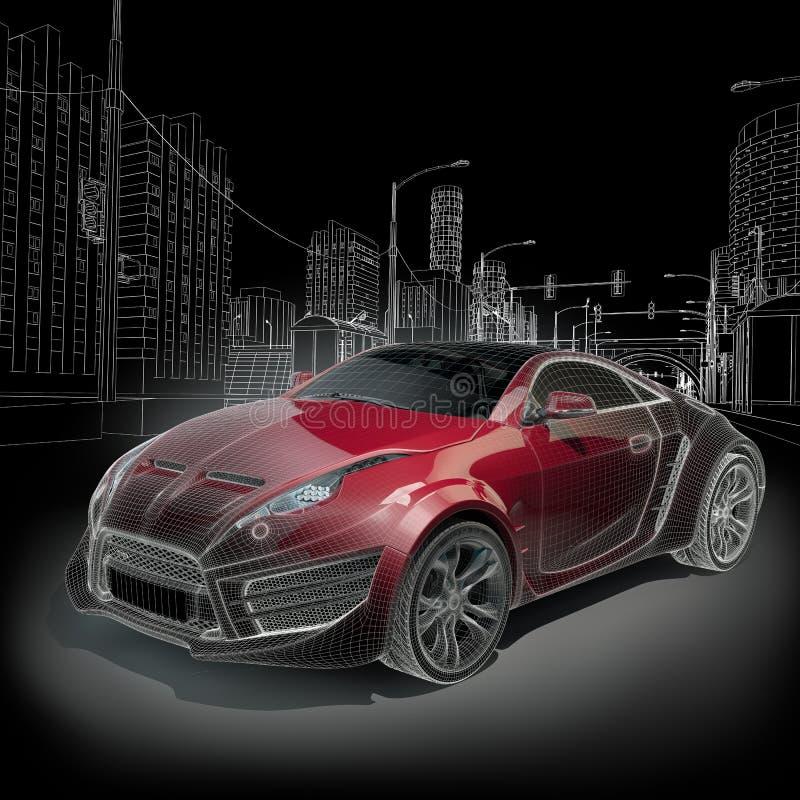 汽车炫耀wireframe 向量例证