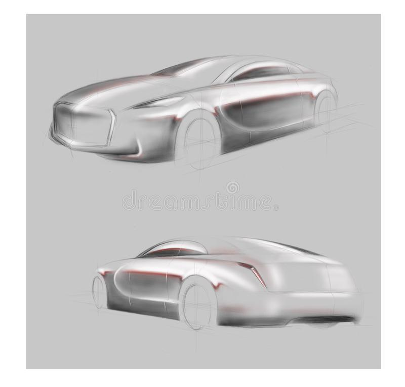 汽车热心者的高科技概念汽车 皇族释放例证