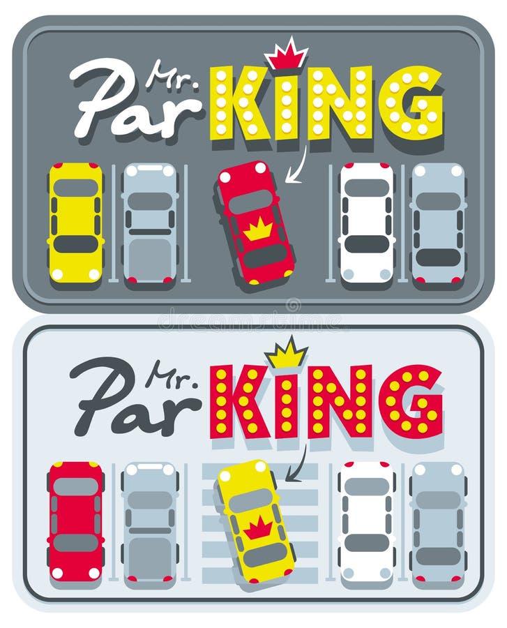 汽车特大张贴广告ParKING先生 皇族释放例证