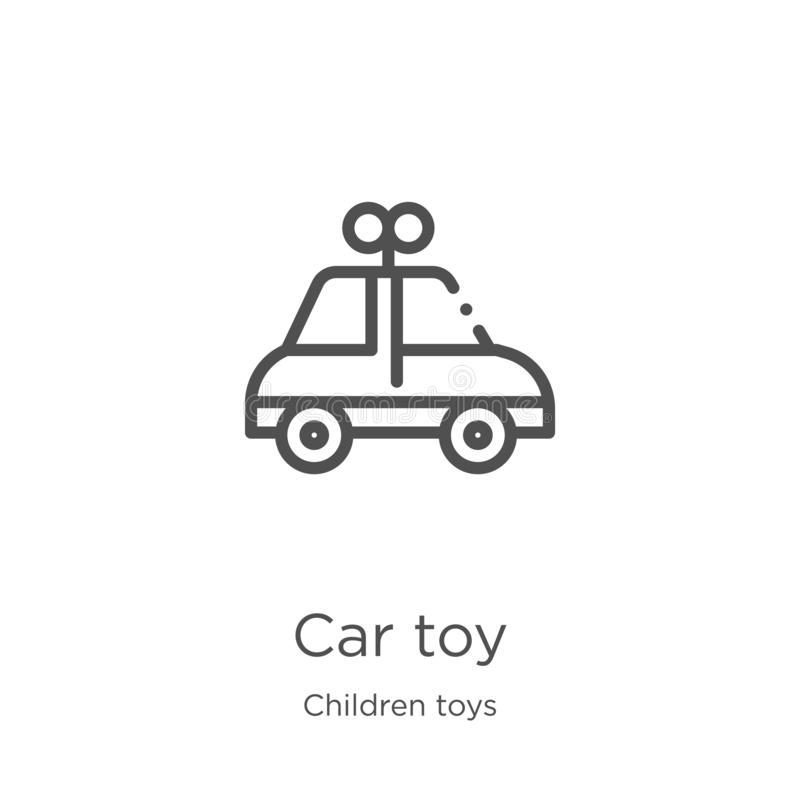 汽车玩具从儿童玩具汇集的象传染媒介 稀薄的线汽车玩具概述象传染媒介例证 概述,稀薄的线汽车玩具 向量例证