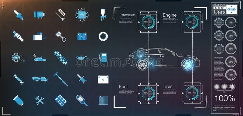 汽车用户界面 HUD UI 抽象真正图表接触用户界面 汽车象 传染媒介汽车摘要 库存例证