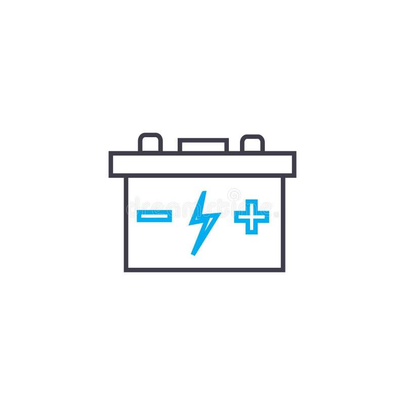 汽车电池传染媒介稀薄的线冲程象 汽车电池概述例证,线性标志,标志概念 皇族释放例证