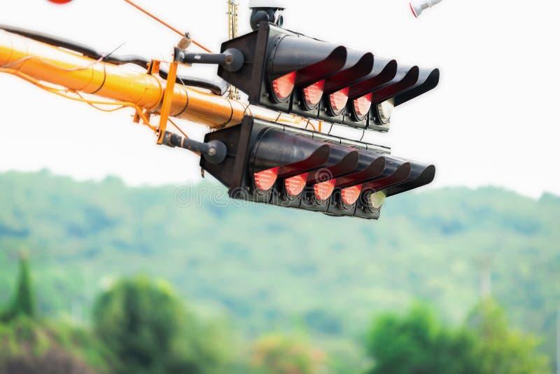 汽车的信号灯能开始在起点 免版税图库摄影