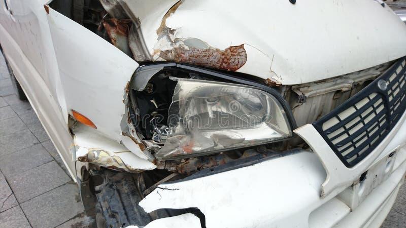 汽车的前端捣毁了 库存照片