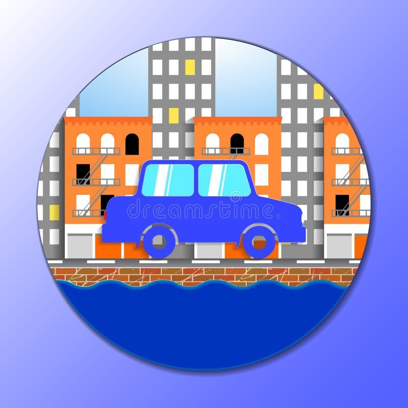 汽车的平的传染媒介例证在纽约 皇族释放例证