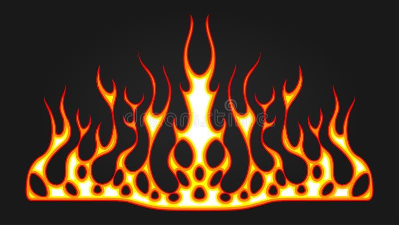汽车的敞篷的燃烧的火标签 发火焰马力强大的赛跑的汽车 乙烯基准备好部族火焰 车和摩托车贴纸,机智 向量例证