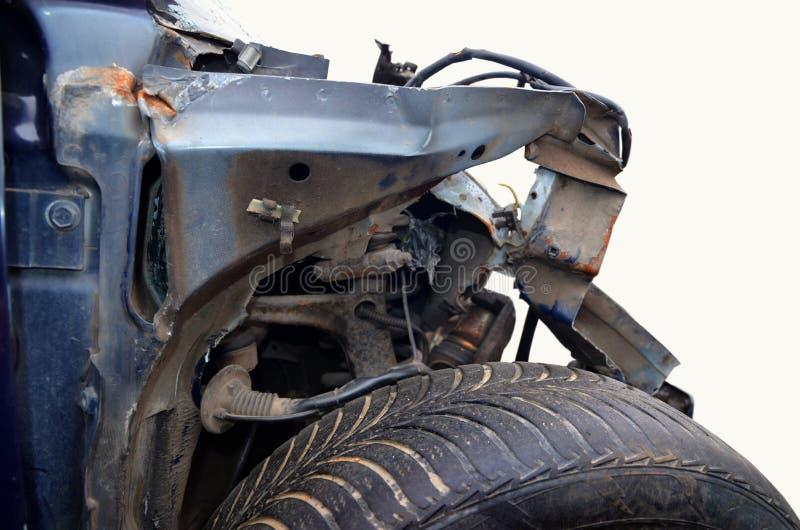 汽车的片段在事故以后的 免版税库存照片