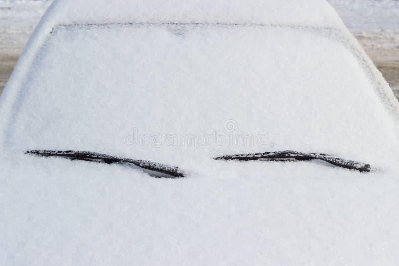 汽车的片段,报道用蓬松雪 图库摄影