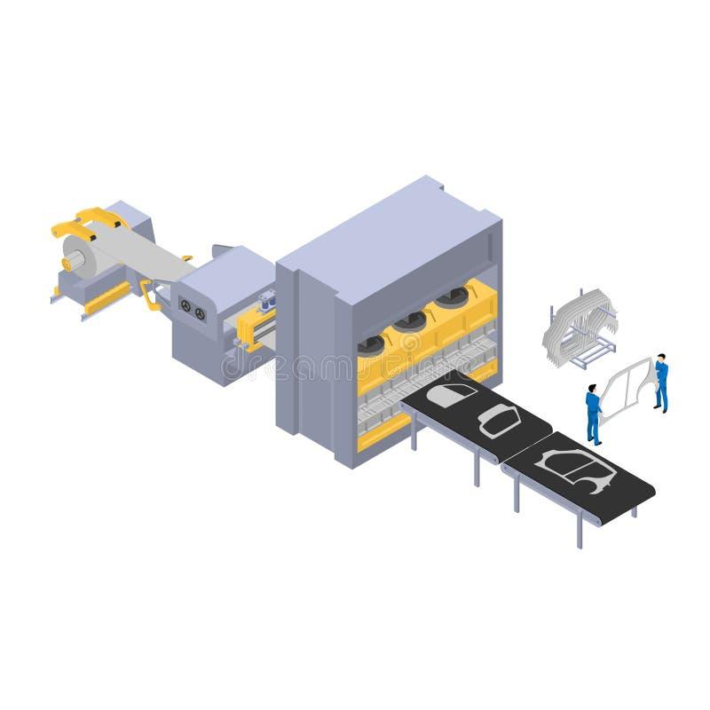 汽车的生产,车身的生产的工厂线分开 向量例证