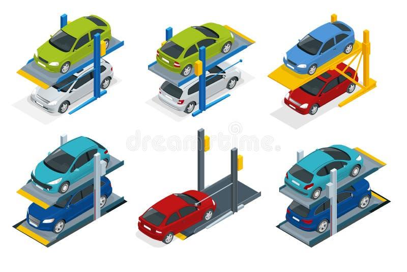 汽车的等量液压悬挂在地下停车处 平的传染媒介多重停车处 向量例证