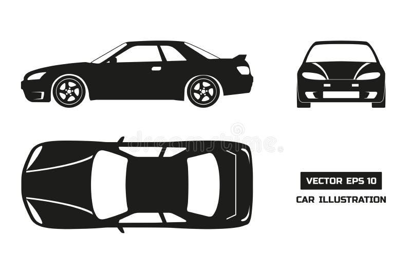 汽车的黑剪影在白色背景的 上面,前面和侧视图 皇族释放例证